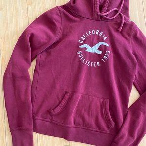Hollister maroon red hoodie sweatshirt Medium